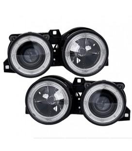 Par de faros focos Angel Eyes para Bmw E30 negros ópticas delanteras