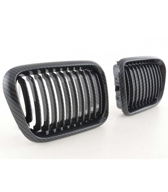 Par de rejillas delanteras de calandra Bmw E36 restyling 96-99 carbonlook